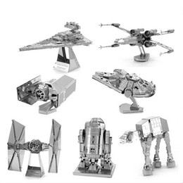 Wholesale Model Toy Robot - Star Wars 3D Metal Puzzle Model DIY Toys For Children Adult Cartoon Robot X-Wing R2-D2 RT-RT Model