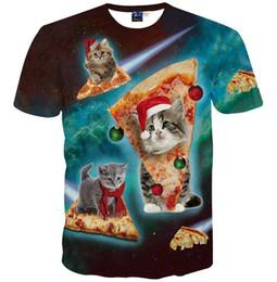Wholesale pizza toppings - 2016 3d clothing New Harajuku Men's 3d t-shirt short sleeve cartoon t shirt print pizza cat man tops tees Asia M ~ XXL