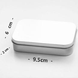 Wholesale Tin Card Boxes - Plain silver tin box 9.5cm x 6cm x 2cm, rectangle tea candy business card usb storage box case fast shipping F2017702