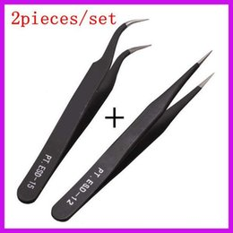 Wholesale Straight Eyebrow Tweezers - Wholesale- 2 sets lot Nonmagnetic Stainless Steel Curved Straight Grafted Eyelash Tweezers Eyebrow Tweezers Free Shipping
