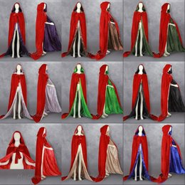 Wholesale Red Velvet Capes - Red Velvet Lined Satin Halloween Hooded Cloak Medieval Renaissance Wedding Cape Wicca Pagan Cosplay Robe