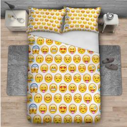 coperta gialla bianca Sconti 3D Stampa 2 Pezzi Federe e 1 Pezzi Copripiumino 3D Emoji Stampa 3 Pezzi Set Biancheria da Letto per Casalinghi