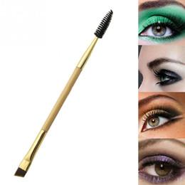 Wholesale Bamboo Hair Comb - 100PCS Double Head Makeup Brush Makeup Tools Bamboo Handle Double Eyebrow Brush + Eyebrow Comb and Makeup Brush