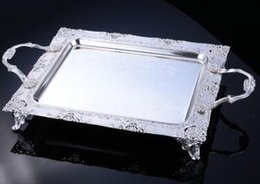 Wholesale Silver Plated Stand - Hotel Cake Serving Tray Rectangle Metal Fruit Plate Food & Dessert Serving Tray Wedding Silver Trays