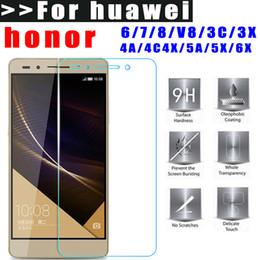 Película de huawei 3x online-Venta al por mayor - vidrio templado para huawei honor 6 7 8 V8 3C 3X 4A 4C 4X 5A 5X 6X HD Film Protector de pantalla 2.5D 9H fácil de instalar