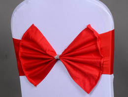 Wholesale Chair Classic - Wedding Chair Bows Sashes For Wed Events Supplies Chair Decoration Beautiful Taffeta Bows Chair Cover Sash With Ruffles and beads