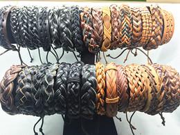 Großhandelslos 100pcs Mischungs-Art Weinlese-handgemachtes echtes Leder-Stulpe-Schmucksache-Armband-Armband für Mann-Frauen von Fabrikanten
