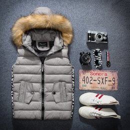 Wholesale Fur Coat Models - Wholesale- 2016 new autumn and winter vest male couple models hooded fur collar down vest female coat vest