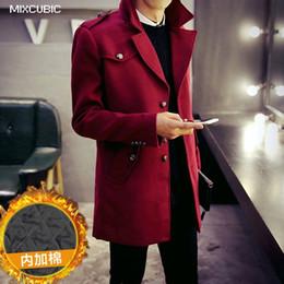 Wholesale Men Epaulette Jacket - MIXCUBIC 2017 winter England style solid color Epaulette design woolen jackets for men wine red casual slim wool coats men,M-XXL
