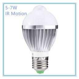 Wholesale Motion Globe - Hot IR Motion Sensor LED Bulb Spotlight Lamp E27 5W 7W 5730SMD Cool White Warm White AC 85-265V for Bedroom Hallway Cabinet