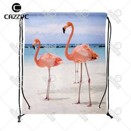 Wholesale Nylon Bird - Wholesale- Summer Tropical Beach Sea Flamingos Bird Print Custom individual Nylon fabric Drawstring Backpack Gift Bag Pack of 4