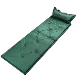 Wholesale Types Cushions Pillows - Wholesale- Automatic Inflatable Mat Cushion Single Can Be Joint Sleeping Mat Camping Sleeping Pad with Pillow Camping Hiking Equipment