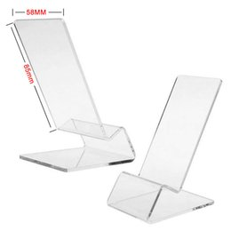 Wholesale Iphone Holder Acrylic - Universal General Clear Transparent Acrylic Mount Holder Display Stand Shown for iPhone Samsung Cellphone Mobile Phone 100pcs Free DHL