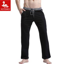 Wholesale Mens Cotton Pyjamas - Wholesale-Men Sleep Lounge Loose pants Cotton mens Solid bottoms Breathable Men pants casual Man Pajamas Pants Trousers Home Wear Pyjamas