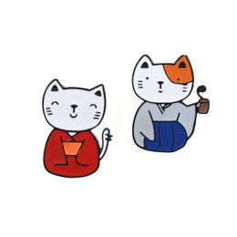 Wholesale Gold Metal Brooches - Wholesale- 1PC Fashion Christmas Jewelry Cartoon Metal Cat Brooches For Women Summer Style Cute Animal Enamel Pins Badge For Girl P1196