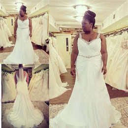 Wholesale White Dress Black Curve Lines - 2016 Plus Size Wedding Dresses for Brides with Curves Sale Cheap Custom Made Curvy Bridal Gowns Sheer Straps Beaded Waist Vestidos De Novia