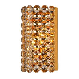 Wholesale Royal Lamps - Royal Luxury Crystal Golden Bedroom Wall light Modern Golden Base Bathroom Wall Sconces Corridor Hallway Washroom Wall Lamp