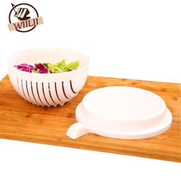 Wholesale Stainless Fruit Bowl - Wiilii 2pcs Set 60 Seconds Salad Cutting Bowl For Fruit Vegetables Kitchen Tools Stainless Steel Graters