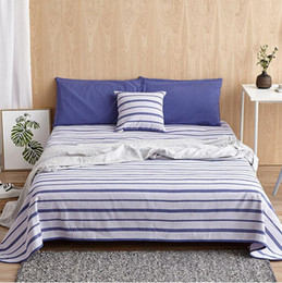 Wholesale Queen Suite - Summer sleeping mat Old Coarse Cloth hand-woven 100% cotton Bedding article Suite White and blue stripes Improve sleep