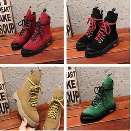 Wholesale Brands Names Shoes High Heels - Name Brand High Quality OFF-WHITE Martin Boots Woman Shoes Flat Classic Yellow Red Green Lace Up Lady Fashion Casual Boots Double Box