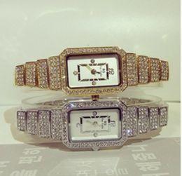 Wholesale Crystals Diamond Rhinestones Watch - New Fashion Famous Brand Women Full Diamond SilverBracelet Watch Lady Luxury Dress Jewelry Watch Rhinestone Bling Crystal Bangle