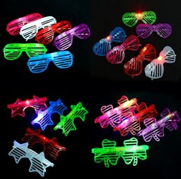 Wholesale Decorating Masks - New LED flash Shutter glasses party decorate plastic glasses square pentagram love clover light-emitting toys gifts