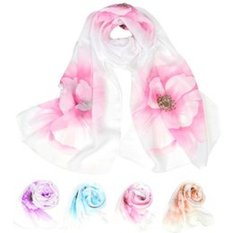 Wholesale Wholesale Red Sun Scarves - Wholesale- 1PC Fashion Women Beautiful Flower Scarf Wrap Soft Prevent Sun Summer Shawl Chiffon Neck Circle Voile Scarves