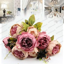 Wholesale Wholesale Silk Flowers Peony - 1 Bouquet 10 Heads Vintage Artificial Peony Silk Flower Wedding Home Decor Hight Quality Fake Flowers Peony GLO