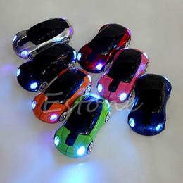 Carro em forma de mouse óptico sem fio on-line-Atacado-P 2.4GHZ 1600DPI Mouse Sem Fio Receptor USB Luz LED Super Car Forma Optical Mice Battery Powered (não incluído)