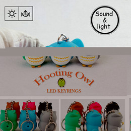 Wholesale Led Torch Toys - Wholesale- 6 Optional Colors Cute Owl Led Key Chain Torch Make Sound and Light Cartoon Owl Hooking Key Rings Girl Friend Gift Kid Toys
