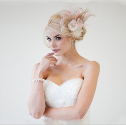 Wholesale Feather Barrette Hair Clip - Elegant Feather Headpieces Bride Flower Head Clip Wedding Photo Wedding Hair Flower Dance Performance Fascinators 2017 Newest