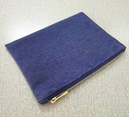 Wholesale Metal Clutches Wholesale - Denim makeup bag trendy indigo blue 7x10 Inches blank denim cosmetic bag plain denim clutch bag coin purse with gold metal zipper
