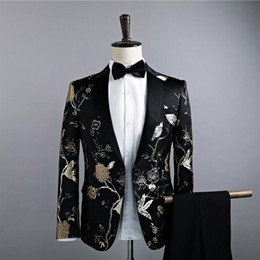 Wholesale Types Clothes Neck - New type of cultivate one's morality men's single coat suit small floral suit the dress male singer costumes nightclubs clothing