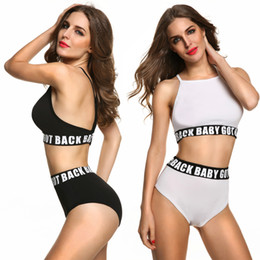 Wholesale Top Brand Women S Suits - Women Sexy Bikini Set Letter Underwear Top Swimsuit Push Up Girl Bikinis sets Black white High Waist Brand Swimwear Bating Suit wholesale