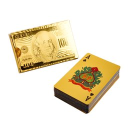 Wholesale Golden Plastic Plates Wholesale - Durable Waterproof Plastic Playing Cards Golden Poker Cards 24K Gold-Foil Plated Playing Cards Poker Table Games 2507001