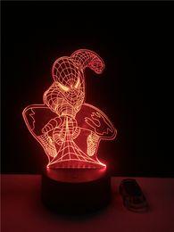 Wholesale Mushrooms Men - 1pcs 3D Led Desk Lamp Spider-Man Mask for Home Decor Crystal Night Light Table Lamp Decoration