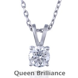 Wholesale Lab Diamond Pendant - Queen Brilliance 1ctw GH Color Lab Grown Moissanite Diamond Women Pendant Necklace Platinum Plated 925 Sterling Silver Choker 17903