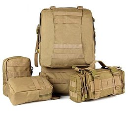 Wholesale Cool Canvas Backpacks - 5 Color Cool Men Tactical Military Bag Mountaineering Hiking Outdoor Combination Bag Day Backpack Free Shipping