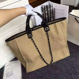 Wholesale Embroidery Handbags - 2017 costly quality denim Paris beach bag luxury large casual totes bags woman shoulder and handbags with chain femme 38cm