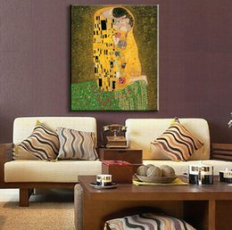 Wholesale Hand Painted Oil Painting Reproductions - Golden Portrait The Kiss (Full View) by Gustav Klimt Oil painting reproduction Hand painted High quality