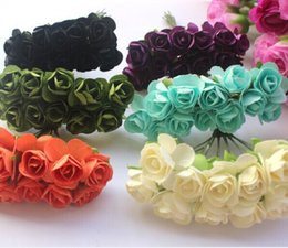 Wholesale Paper Rose Heads - Wholesale-Promotion 1.5cm head Multicolor Mulberry Paper Flower Bouquet wire stem  Scrapbooking artificial rose flowers(144pcs lot)