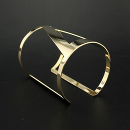 Wholesale Hollow Cuff Bangles - Punk Fashion Gold Plated Piered Wide Bangle Geometry Triangle Hollow Cuff Bracelets Gifts Women Adjustable Bangles