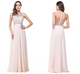 Wholesale Sparkle Prom Dress Stock - Cheap In Stock Sparkling Crystals Beaded Prom Dresses Sexy See Through Sheer Back Champagne Chiffon Long Evening Dresses Vestido De Festa