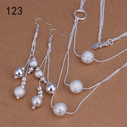 Wholesale Set Earrings Necklace Price - same price mix style women's sterling silver jewelry sets,fashion wedding 925 silver Necklace Earring jewelry set GTS34
