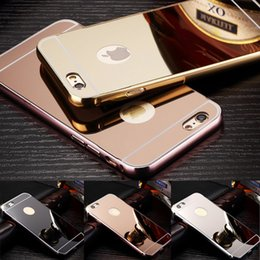 Wholesale Metal Back Iphone Case Bumper - For iPhone 7 Mirror cell phone case Gold Metal Aluminium Bumper Hybrid Back Case for iPhone 6 Plus 6S 7plus S7 edge Note5