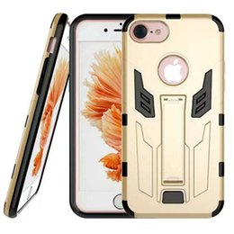 Wholesale Iron Man Casing - For iPhone 7 Iron Man case Hybrid 2 in 1 Hard Cases For samsung s6 s7 edge iphone 6s plus with kickstand Cover