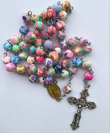 Wholesale Necklace Colorful - Fashion Cross Jesus Necklace With Polymer Clay Rosary Beads Catholic Christian Colorful Rosary Crucifix Pendant Necklace
