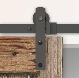 Wholesale Barn Hardware Wood Door - 4-8FT Black Steel Rustic Industrial Single Sliding Barn Wood Door Hardware Straight Roller Track Kit Wardrobe