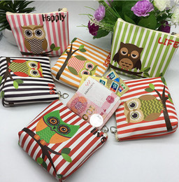 Wholesale Pink Orange Owl - Korean Style Fashion Coin Wallet Carton Owl Pu Leather Coin Purse Hot Sale Women Change Purse Small Gift DHL Free Shipping