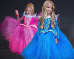 fotos de cuello redondo vestido Rebajas Halloween Cosplay Vestido de Niñas Vestidos de Cenicienta Niños Bella Durmiente Vestido de Princesa Rapunzel Aurora Frozen Fiesta de Niños Ropa de Disfraces